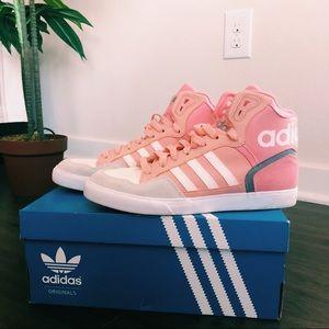 Pink and gray high top adidas originals
